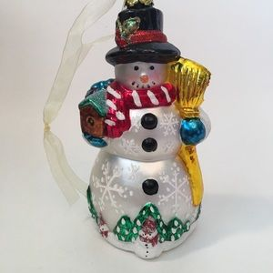 Vtg Snowman Christmas Ornament 6.5""